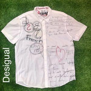 Desigual Men's Button Front Half-Sleeve Shirt XXL